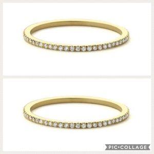 TWO 14k Micro Pave Diamond Eternity Wedding Rings
